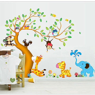 Jungle Animals Monkey Owl Giraffe Elephant Tree Removable Children Wall Stickers