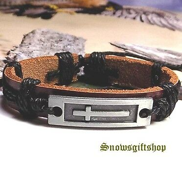 Men's Latin Cross New Age Surfer Biker Characters Leather Bracelet Wristband