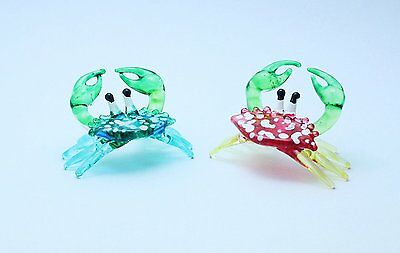 Handcrafted MINIATURE HAND BLOWN GLASS Set Small Red Blue Crab FIGURINE
