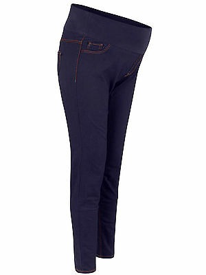 New Look Size12 16 Maternity Dark Denim Under Bump Contrast Stitch  Jeggings (7)