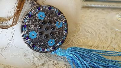 Antique French Dance Purse w/ Blue Cabochon Stones & Enamel on Silver Compact