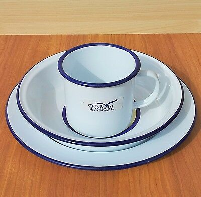 Set 6 Falcon Camping Enamel Tin Metal Pie Dish Dinner Plate Mug Bowl