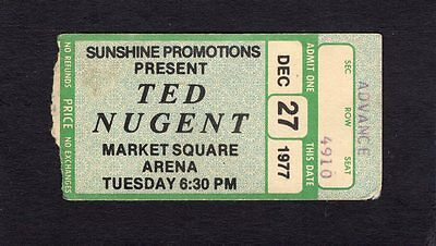 1977 Ted Nugent concert ticket Market Square Indianapolis IN Cat Scratch Fever