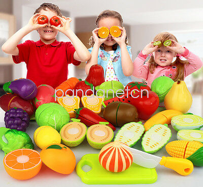 1pc Kid Pretend Role Play Kitchen Vegetable Food Toy Cutting Set Gift-randomly