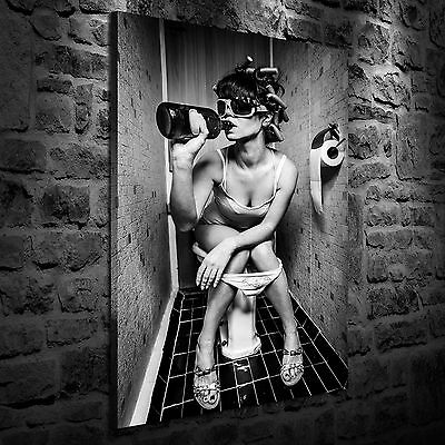 Woman Drinking in Toilet Oil Painting HD Print Wall Decor Art on Canvas Unframed