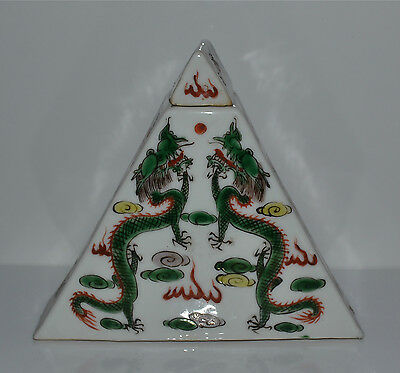 Antique Chinese Famille Verte Porcelain Tea Caddy Opposing Dragons Clouds Flower