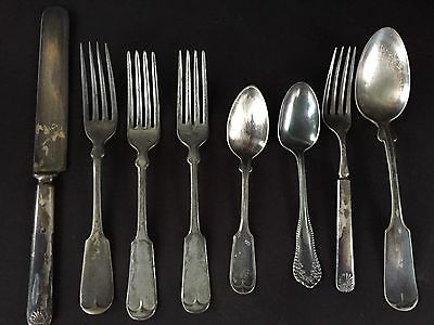 Vintage Mixed Lot of 8 Pieces Silverware Rogers & Others- Silver plated