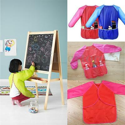 Waterproof Painting Art Sleeve Smock Kids Children School Cooking Pockets Apron