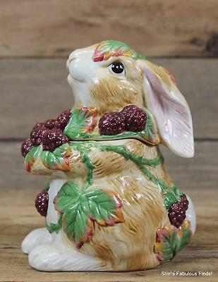 "2002 FITZ & FLOYD Easter ""BLACKBERRY RABBIT"" Bunny Lidded Box Canister 6.25"" MIB"