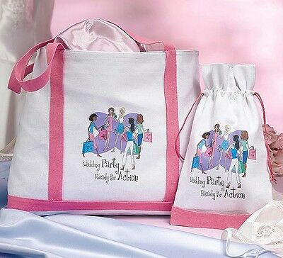 Bridesmaid Pink & White Canvas Large & Small Tote Bags (Set of two) - WG647 WP