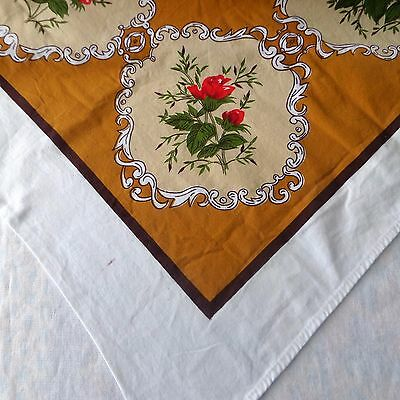 Vintage Printed Cotton Tablecloth Red Roses Cameos Scrolling 82 x 50 Rectangle