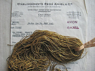 AUTHENTIC FRENCH Vintage Dark Gold Metal Thread Check Purl Bullion Embroidery