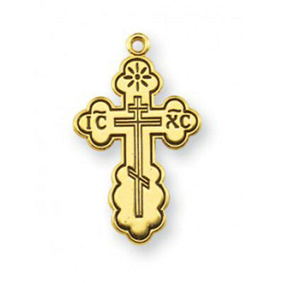 7/8 inch Gold Over Sterling Silver  inch BYZANTINE Style Cross With Black