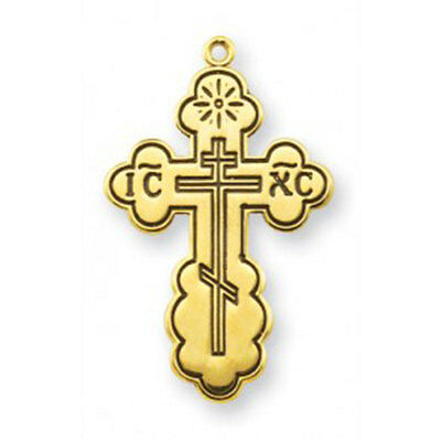 1 1/8 inch Gold Over Sterling Silver  inch BYZANTINE Style Cross With Black