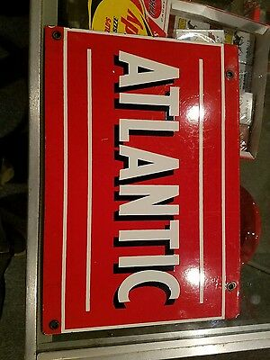 Original Porcelain Atlantic Gas Oil Advertising Sign Pump Plate Circa 1950s