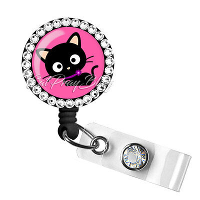 Retractable Badge Reel Name Tag ID Pull Clip Holder Lanyard Nurse RN Cat Gift