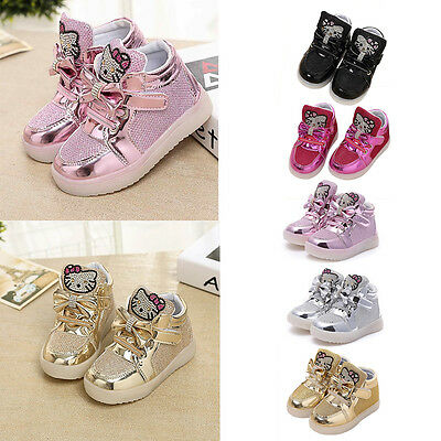 LED Kids Girls Shoes Light Up Baby Luminous Sneakers Flat Casual Trainers Shoes