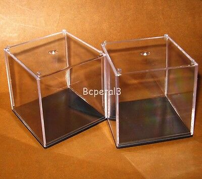 2pc Clear Acrylic Cubic Display Case Multi-use Dustproof Decorative Box 10/7/5cm