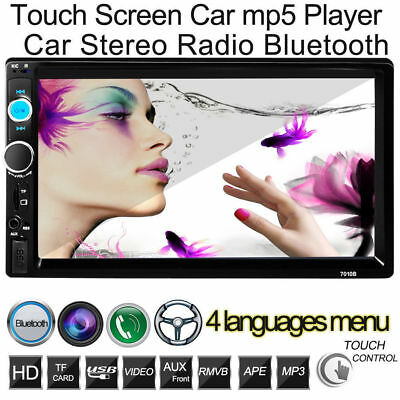 """7"""" Double 2Din In Dash Car Stereo MP3 MP5 Player Touchscreen Bluetooth FM Radio@"""