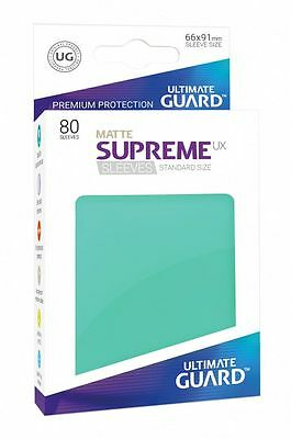 Ultimate Guard Supreme UX Sleeves Standard Mat Turquoise 80 Pieces Card Sleeves