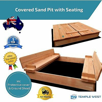 Kids Sandpit Square Outdoor Play Set Wooden Sand Pit Beach Toy Box Backyard