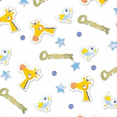 On your Christening Day Blue Confetti 14g Animals Baptism Party Table Sprinkles