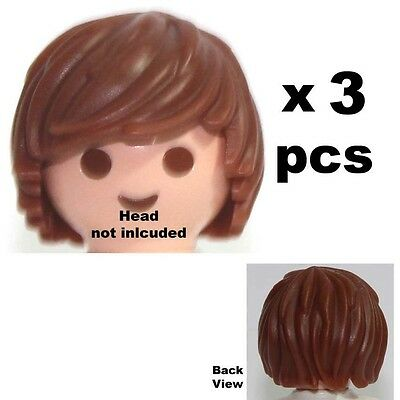 Playmobil 3pcs Brown Hair Ref A1-33