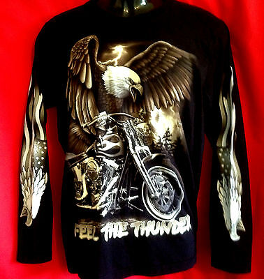 AAAAAA  Harley Motor Bike/Eagle print Black 100% cotton L/s t-shirt New