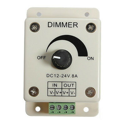 DC 12V 8A Adjustable Dimmer Switch Control PWM Controller Single Color LED Strip