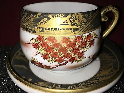 Small Antique Satsuma Porcelain Cup And Saucer Gilded Pagoda & Painted Landscape