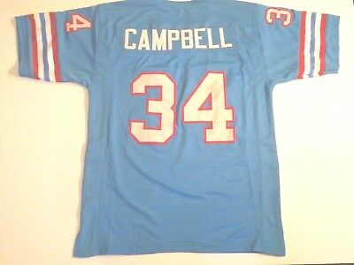 UNSIGNED CUSTOM Sewn Stitched Earl Campbell Blue Jersey - M, L, XL, 2XL