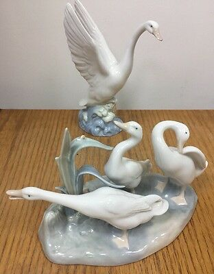 Lladro 3 Geese / Ducks 4549 Gloss and Nao Goose / Duck, Excellent Condition