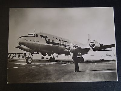 Photo Originale Des Annees 50 Avion Dc6 De La S.a.s Aeroport De Paris