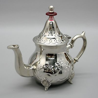 """Vtg 8"""" Tall MAGMA Moroccan Chrome Metal Tea Pot Cast Iron and Stamped Metal"""