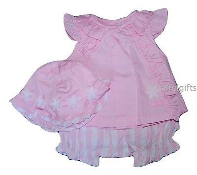 Girls Spanish Style 3 Piece Frilled Top Bloomers & Hat Set 0-24 Months