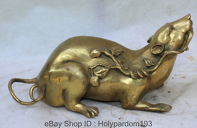 "12"" Chinese Folk Feng Shui Brass Zodiac Year Mouse Peach Wealth Statue Sculpture"