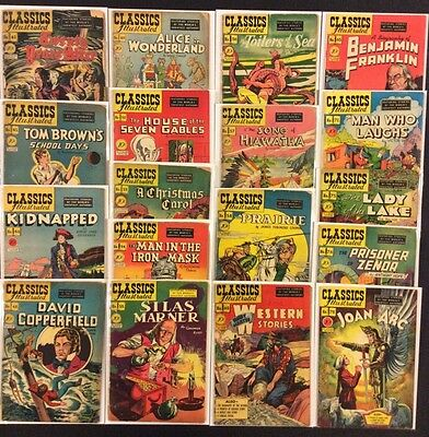 CLASSICS ILLUSTRATED Golden Age Comic Books Lot of 18 1st Prints 1940s #41 $0.10