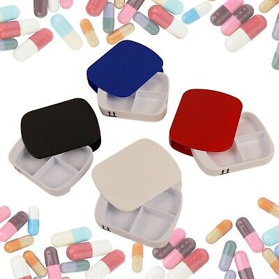 Portable Vitamin Medicine Drug Tablet Storage Travel Case 4 Pill Compartment Box