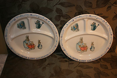 Beatrix Potter Peter Rabbit & Friends Plastic Dishes with Separaters Set of 2