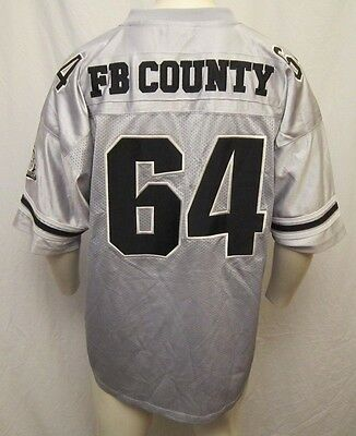 Authentic Vintage Fb County 64 Football Jersey Sz Xl Silver/black Free Shipping!