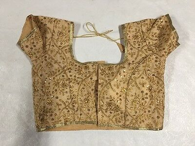 New Designer Ready made padded gold saree blouse front closure ,USA Seller 38/40