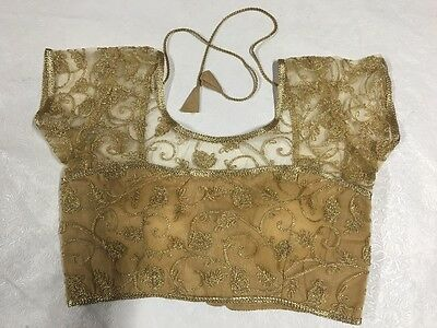 New Gold Netted embroidered padded ready made saree blouse back closure, size 38