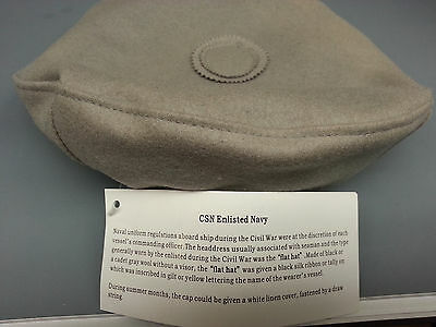 Civil War Csn Enlisted Navy Sailor Hat Size Small Flat Hat