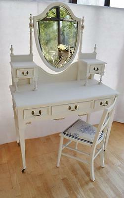 Edwardian Hand Painted Five Drawer Dressing Table and Chair Excellent Condition