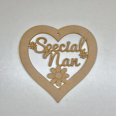 MDF Wooden Mothers Day Special Nan Heart Plaque Sign