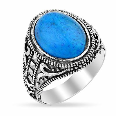 turkish handmade Turquoise Men's Firuze Silver Ring müslim ring islamic All size