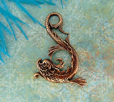 ANTIQUE COPPER Victorian Dragon Sea Serpent Stamping ~ Jewelry Finding (C-1205)
