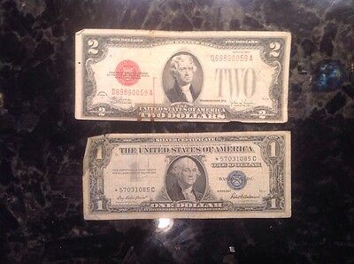 1928F  $2  USN  - Red Seal + 1957  $1 Silver Certificate - STAR NOTE - Blue Seal