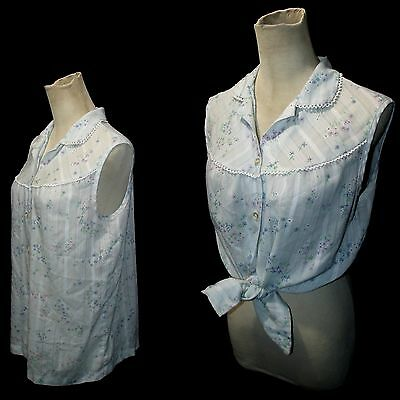 Vtg 70s Western Floral Sleeveless Top Baby Blue Button Up Shirt L/XL
