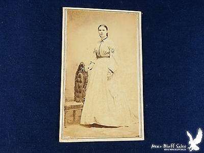 GREAT Civil War Era CDV Portrait Woman Wonderful Gown Lovely
